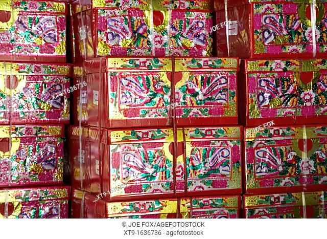 large paper imitation gift wrapped presents which can be burned as offerings to the dead po fook hill cemetery sha tin new territories hong kong hksar china...