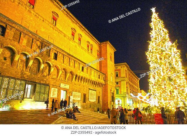 Palazzo da Borsa Nettuno square at night Christmas time Bologna Emilia Romagna Italy