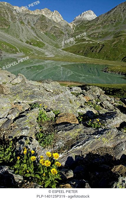 The alpine mountain lake Lac Blanc in the Parc National de la Vanoise, France