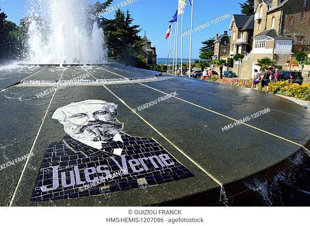 France, Ille et Vilaine, Cote d'Emeraude (Emerald Coast), Dinard, Jules Verne fountain also called Marius' fountain