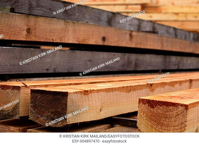 Stack of douglas timber at the sawmill