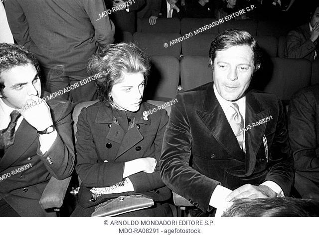 Italian actor Marcello Mastroianni attending a show at Sistina Theatre with his daughter Barbara. Rome, 1969