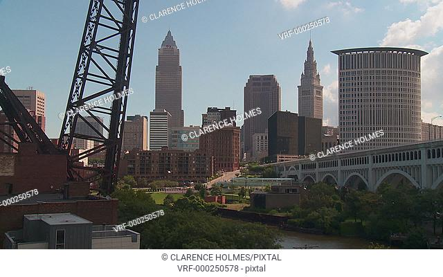 The skyline of Cleveland, Ohio as viewed over the Cuyahoga River from the Flats