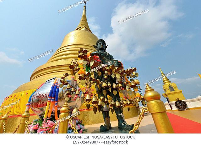 Golden mountain is a artificial hill inside the Wat Saket compound in Bangkok, Thailand