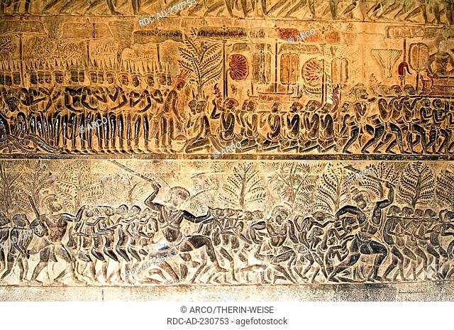 Judgment of the death by Yama, south gallery, Angkor Wat temple, Siem Reap, Cambodia, bas relief