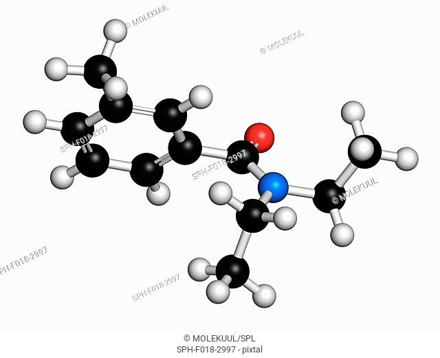 DEET (diethyltoluamide, N,N-Diethyl-meta-toluamide) insect repellent molecule. Atoms are represented as spheres with conventional colour coding: hydrogen...