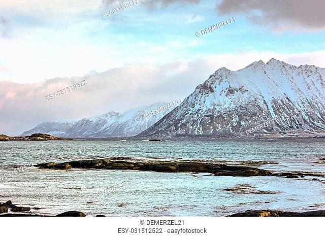 Mountain view in the Lofoten Islands in the municipality of Vagan in Nordland county, Norway