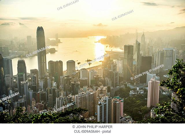 Aerial view at sunrise, Hong Kong, China