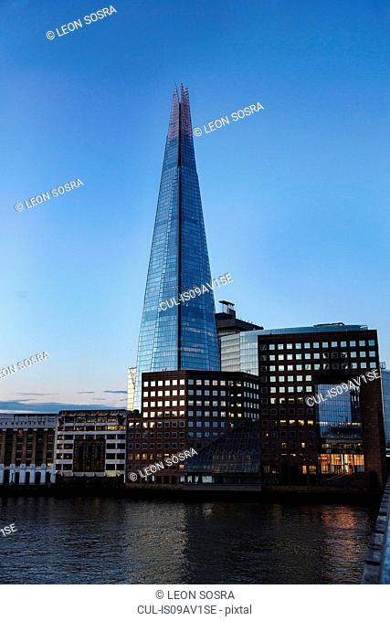 View of the Shard from London Bridge, London, UK