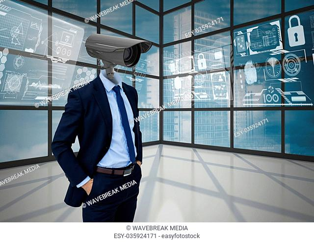 Businessman with CCTV head at office with interface