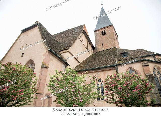 France, the picturesque city of Wissembourg in Alsace, on May 21, 2016. St Jean church. .