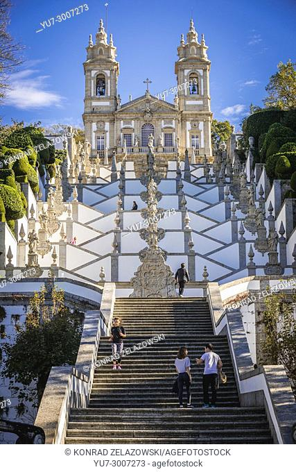 Zigzag shape stairs dedicated to five sences in Bom Jesus do Monte (Good Jesus of the Mount) sanctuary in Tenoes, outside city of Braga, Portugal