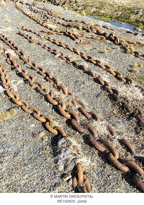 Chains on the flensing plan. Grytviken Whaling Station in South Georgia. Grytviken is open to visitors, but most walls and roofs of the factory have been...