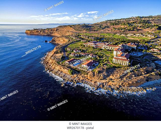 Terranea Resort at Rancho Palos Verdes, aerial view of a luxury resort on the coast of California
