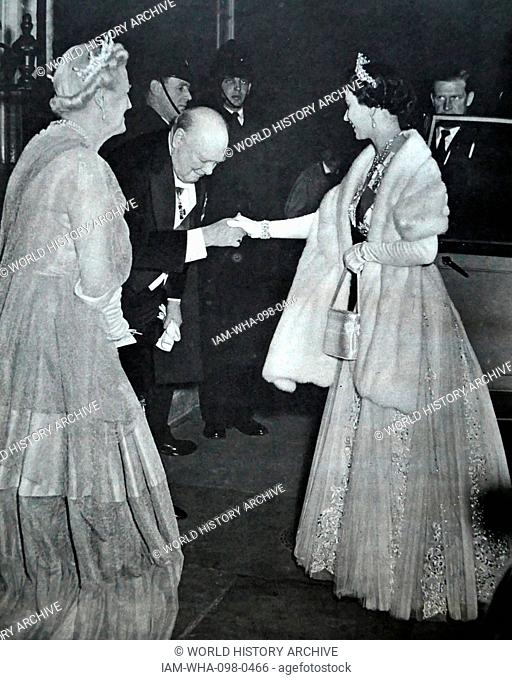 Sir Winston and lady Clementine Churchill with Queen Elizabeth II in 10 Downing Street, London on his retirement as Prime Minister in 1955