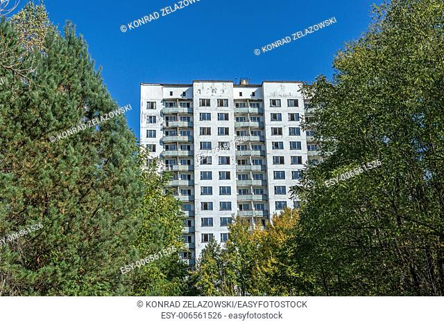 16-storied apartment house in Pripyat town, Chernobyl Nuclear Power Plant Zone of Alienation, Ukraine
