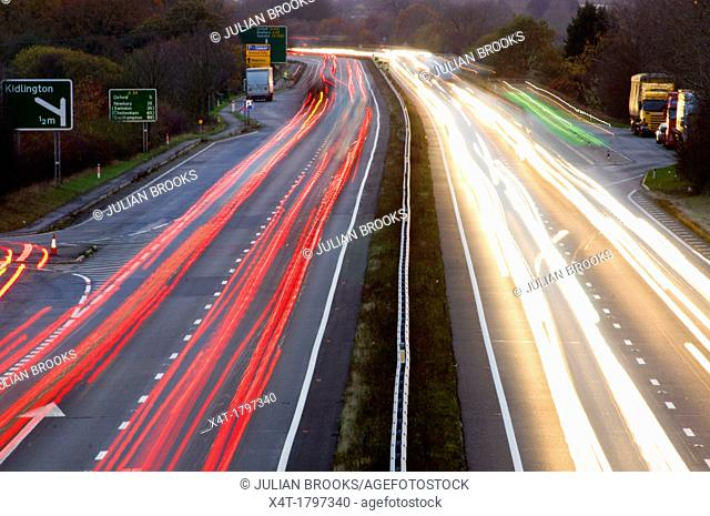 night falling over the A34 with light trails