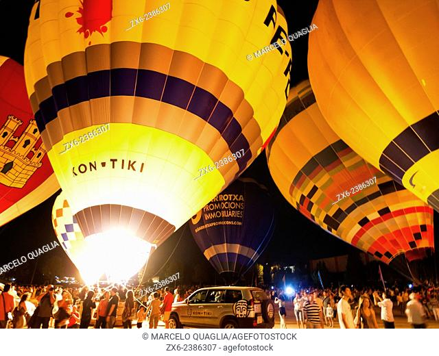 European Hot Air Balloon Festival at Igualada city. Barcelona province, Catalonia, Spain