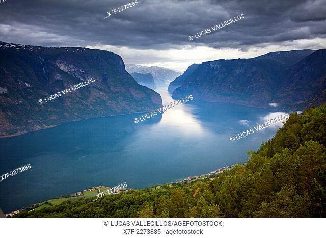 Aurlandsfjorden and in background Sognefjorden, Sogn og Fjordane, Norway
