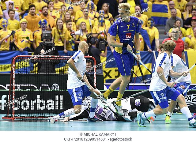 A chaotic situation in front of the Sweden's goalpost during the Men's World Floorball Championships final match Finland vs Sweden, played in Prague
