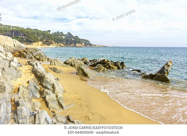 View of Cristus Beach - Costa Brava, from the coastal path from Platja d'Aro to Calonge on the Costa Brava, Catalonia