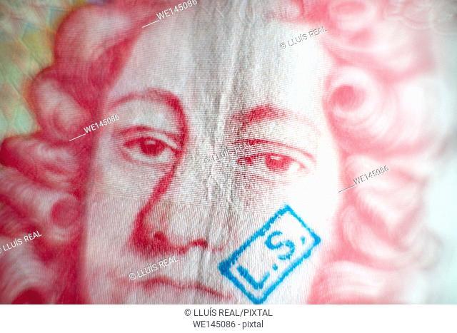 Primer plano de un billete de 50 libras esterlinas. , Close-up of a £ 50 note