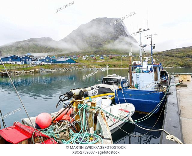 The harbour. The small town Narsaq in the South of Greenland . America, North America, Greenland, Denmark