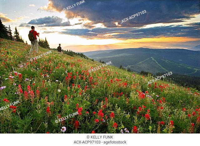 A pair of hikers takes time to enjoy the sunrise at Sun Peaks Resort, east of Kamloops, Thompson Okanagan region of British Columbia, Canada