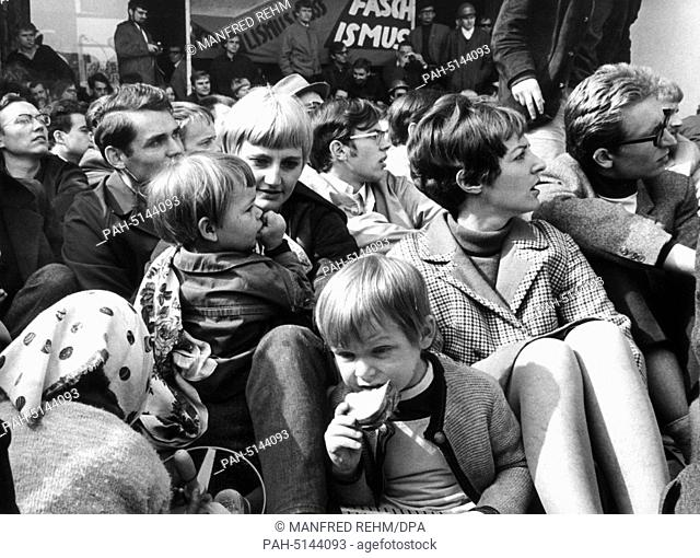 Students at a sit-down strike at the entrance to the university building in Frankfurt am Main on May 24,1968; some of the students had brought their offspring...