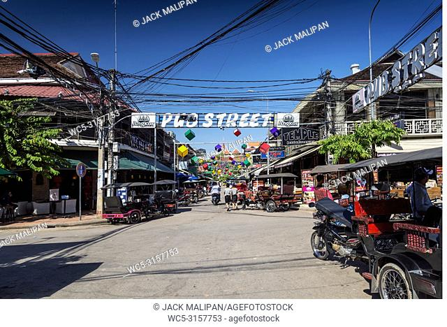 pub street tourist bar and restaurant area of siem reap city near angkor wat in cambodia