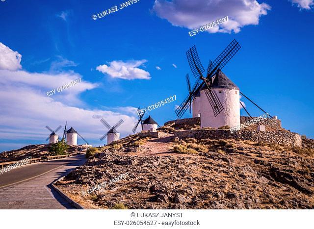 windmills of don quixote. cosuegra,spain