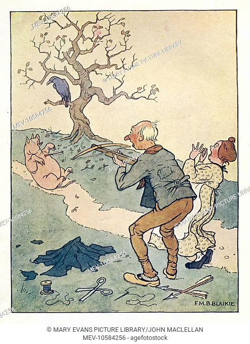 Nursery Rhyme -- The Carrion Crow. A tailor sits sewing, and is irritated by a carrion crow making a noise in a tree. He aims at the crow with his crossbow