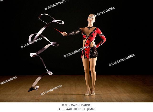 Gymnast twirling ribbon, portrait