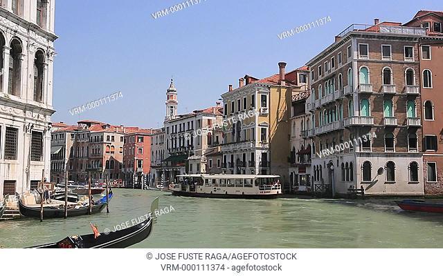 Italy , Venezia City ,the Gran canal, gondola, Rialto Bridge
