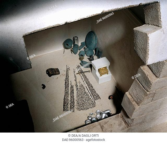 Model of the tomb of Philip II of Macedon at Vergina, Greece.  Pella, Museum (Archaeological Museum)