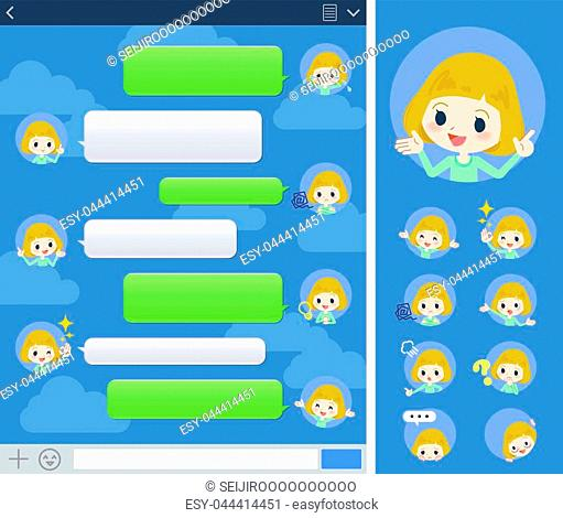 Set of various poses of blond hair girl sns window