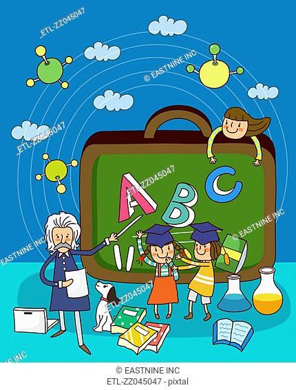 Teacher teaching to schoolgirls