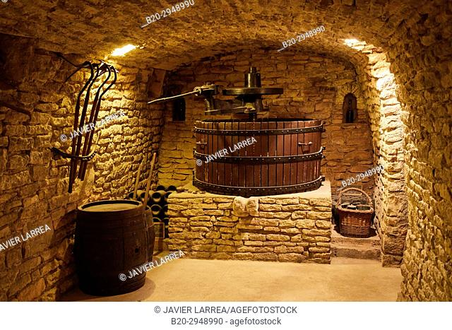Les Caves Cisterciennes, Grape press, Champagne Drappier, Urville, Aube, Champagne-Ardenne, France, Europe