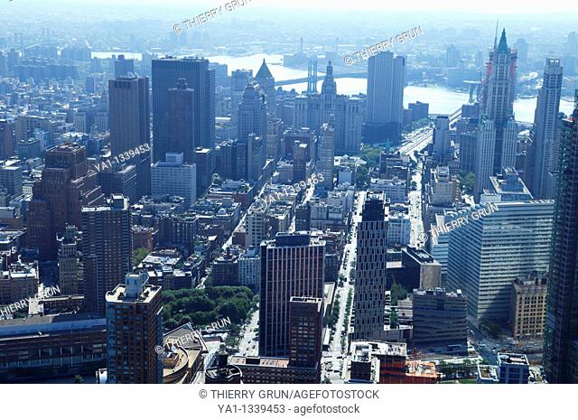 Aerial view of Tribeca in hot summer, South Manhattan, New York city, USA