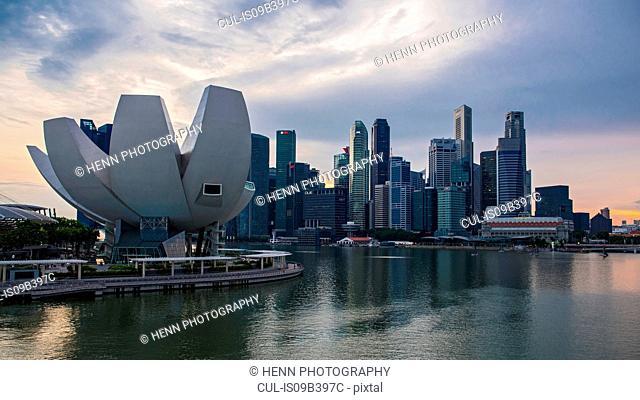 Skyline of Singapore with ArtScience Museum