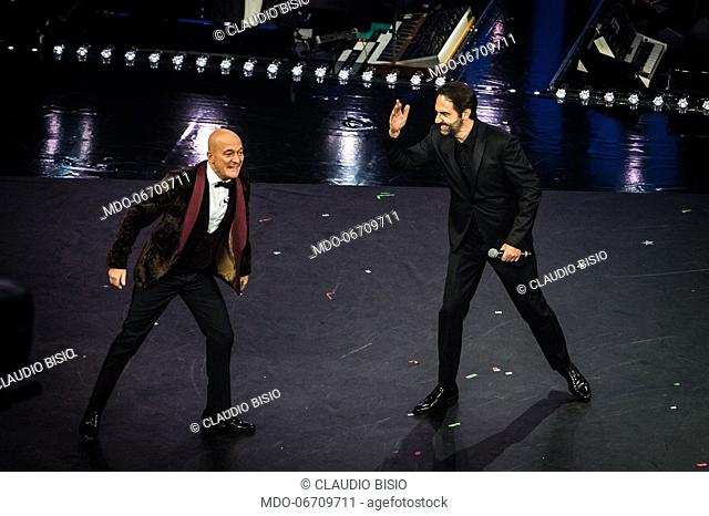 Claudio Bisio e Neri Marcoré at the fourth evening of the 69th Sanremo Music Festival. Sanremo (Italy), February 8th, 2019