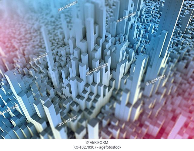 Abstract white three dimensional city topography