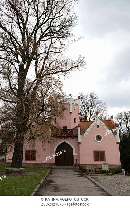 Pink castle in the town of Cervena Recice, a rural village in southern Bohemia with a chateau ruin run by the Catholic Church, Czech Republic, Europe