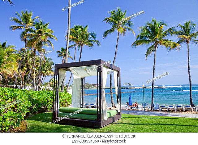 A massage cabana on the beach at the Caribe Hilton resort in San Juan, Puerto Rico, West Indies