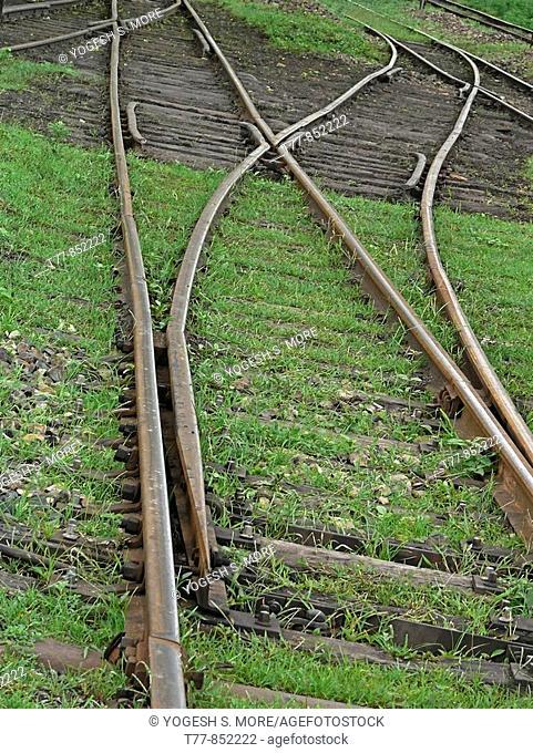 Old meter gauge railway track separator, divider  Mhow, Madhyapradesh, India