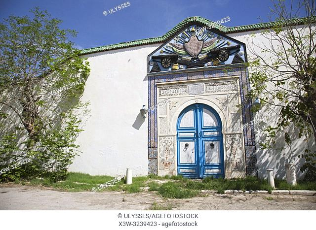 Door of the Royal Palace, courtyard of the Bardo National Museum, Tunis, Tunisia, Africa
