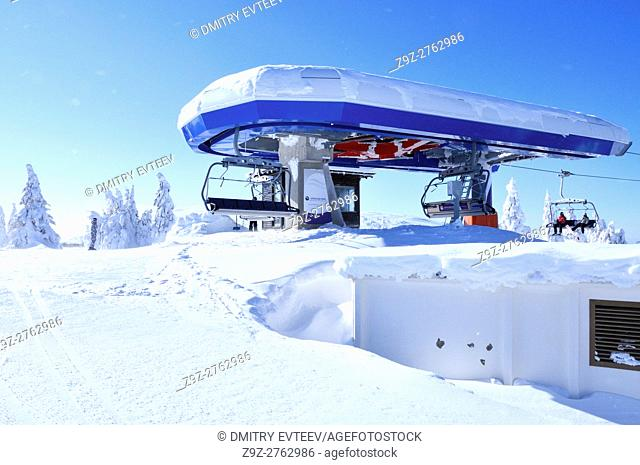 Top station of ski lift at Kopaonik resort. Serbia