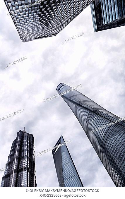 Modern architecture skyscrapers of financial district abstract view, Lujiazui, Pudong, Shanghai, China 2014