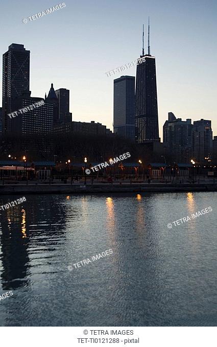 Skyline sunrise Lake Michigan Chicago Illinois USA