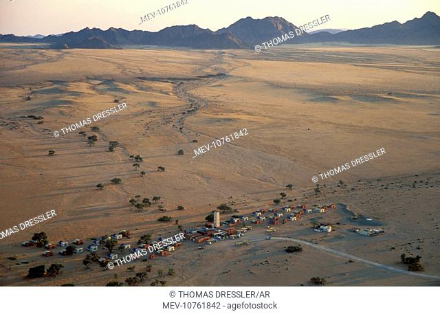 Sossusvlei Lodge - near Sesriem at the edge of the Namib Desert - aerial view from a hot-air balloon shortly after sunrise